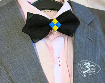 Fancy adult black bow tie with LEGO pieces (more colors available)