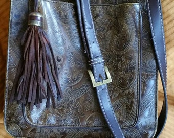 Beautiful Western Stamped multiple pockets with 3 zipper compartments  over shoulder bag