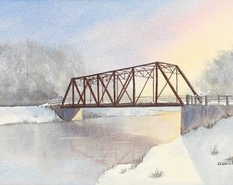 Black Bridge in Winter - watercolour - giclee print - Hespeler - sunrise - Cambridge - winter - river - reflections - watercolour print