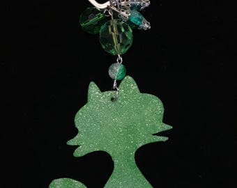 Green silhouette cat Keyring
