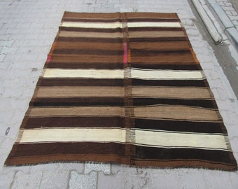 6x8 Ft Natural handwoven striped Turkish kilim rug