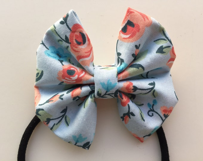 Peach floral fabric hair bow or bow tie