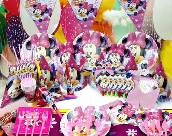 Minnie Mouse birthday party supplies tableware set