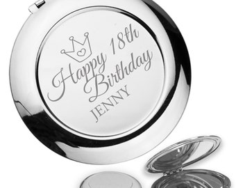 Personalised engraved 18TH BIRTHDAY compact mirror gift idea, handbag mirror - princess crown - PR18