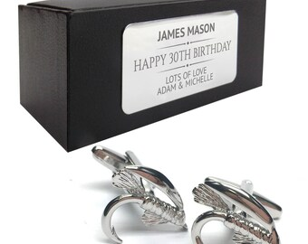 Fly fishing novelty CUFFLINKS birthday gift idea, presentation box with PERSONALISED ENGRAVED plate - 513