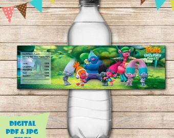 Trolls water bottle labels trolls bottle label trolls trolls water bottle wrap trolls party favors trolls birthday trolls printable digital