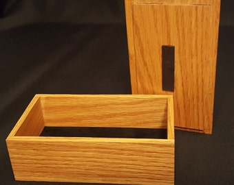 Handmade Stained Small Oak Box with Suede Bottom and Fitted Lid