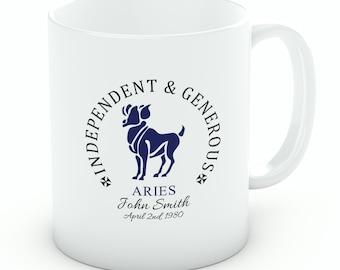 Personalised Aries Mug – 10oz White Porcelain Zodiac Mug (M115)