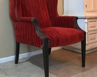 Shabby Chic Red Velvet Wingback Chair