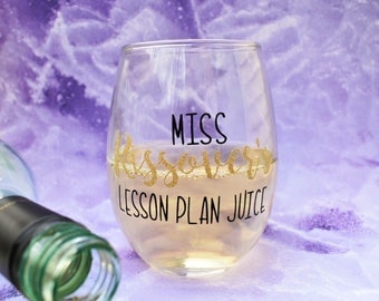 Personalized Teacher Gift | Custom Teacher Wine Glass | Teacher Appreciation | New Teacher | School Bridal Shower | Newlywed Teacher Gift