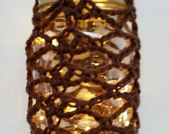 Hanging Crochet Jar Lantern