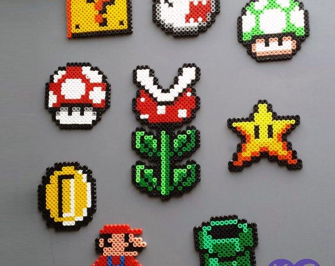 Magnets, Bead art, 8-bit, Game Magnets, Mario Inspired, Perler art, Hama Beads, Mushroom magnets, Fridge magnets, Ghost magnet, Plant magnet
