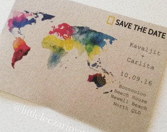 National Geographic World Map Save the Date Invitation