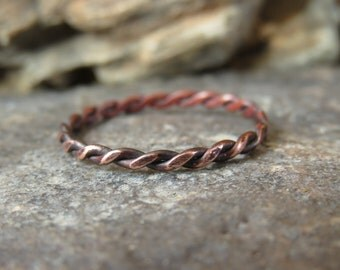 Delicate Twisted Copper Stacking Ring Custom Size