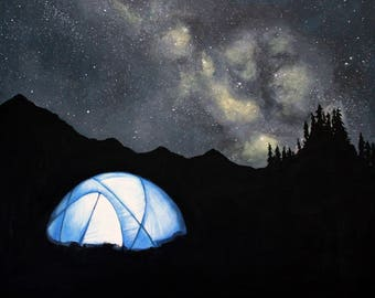 Camping Print - Giclee Print Galaxy Print Milky Way Print Tent Painting Camping Print Nature Print Camping Painting Mountains Print Original