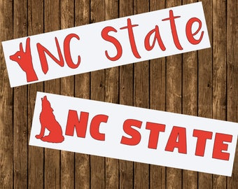 NC State University Long Decals Solid 12 In.
