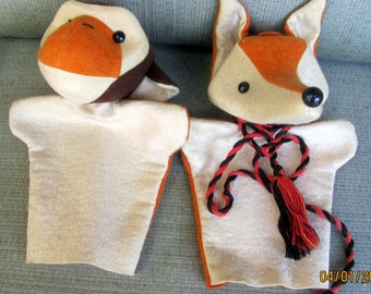 Vintage Mr Fox and Mr Monkey Glove Puppets from Bavaria Germany