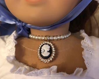 Cameo Pearl Necklace for American Girl Dolls Felicity Elizabeth Caroline Marie Grace