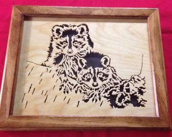 Raccoons Wooden Portrait