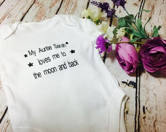 """Personalised """"auntie"""" bodysuit   Gift for niece, baby shower gift, gift for nephew, newborn gift, personalised bodysuit, baby gift from aunt"""