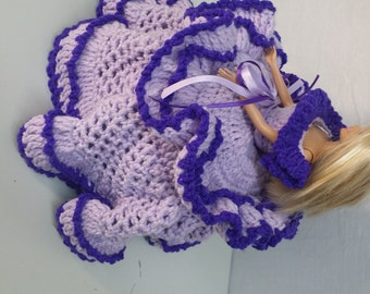 Hand knitted two tone purple barbie bowl