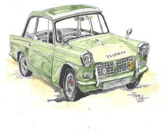 Car Portraits Custom Made  Watercolour and Ink originals based on your photographs