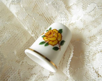 Thimble Mother gift Vintage bone china Thimble Sandford Flower thimble Yellow rose thimble Porcelain thimble Sewing gift Collectible thimble