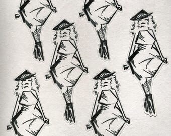 CG Fashion Show, Mina fashion illustration style line drawing, B&W to color or pink, planner sticker sheet - (CGfs3)