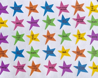 """Star """"Acheevmint"""" stickers, achievement stars planner sticker sheet, Erin Condren, Recollections, Happy Planner"""