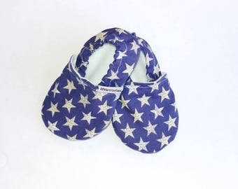 Flag Stars Shoes, blue stars, stars and stripes, America shoes, kid flats, baby flats, fourth of July, patriotic shoes, red white and blue