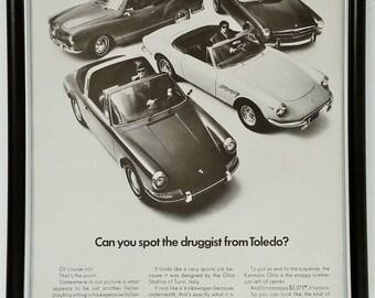 1969 Volkswagen Karmann Ghia Original Full Page Magazine Print Ad Vintage 60s