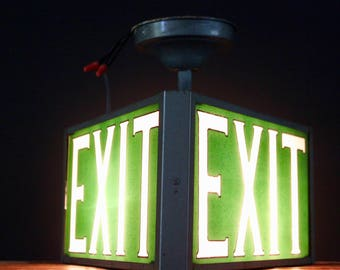 Rare Vintage 3 sided green glass Exit sign, Unique Lighting, Vintage Industrial Exit sign