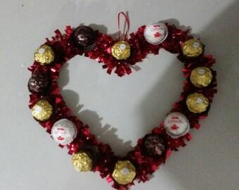 Chocolate heart wreath-wedding gift-baby shower-decoration-gift.