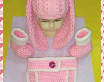 Crochet Baby Bunny Costume, Crochet Baby Bunny Girl Costume, Crochet Baby Bunny Hat, Crochet Bunny Diaper Cover, Baby Bunny Costume, Easter