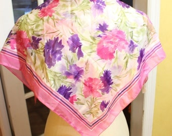 Vintage Berkshire Silken Polyester Spring Scarf with Hot Pink and Purple Flowers Summer Colors  Italy
