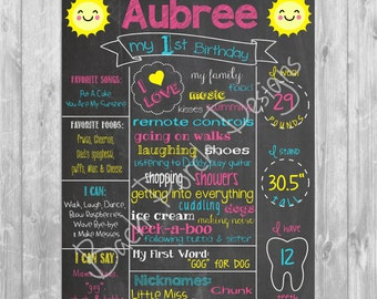 You Are My Sunshine First Birthday Chalkboard Poster - Digital