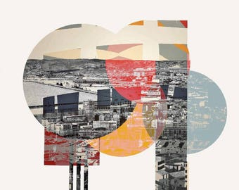 Marseille, Cote d'azur, France, south, photography, Mixedmedia, assemblage, port, Bauhaus style, graphic, elements, mural, artwork