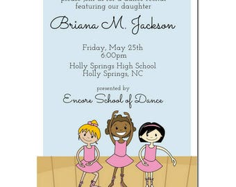 Ballet Recital Announcement |  Dance Recital | Ballerina Party Invitation | Multicultural Party Invite |African American Ballerina