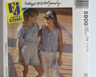 McCalls 5900 Girls tops/pants/shorts sizes 7,8,10