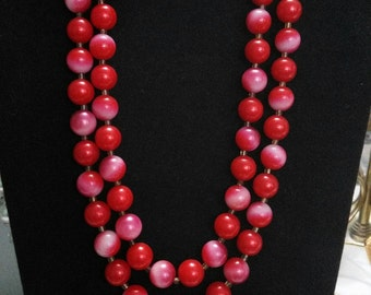 Double strand vintage red ombre beaded Japan necklace