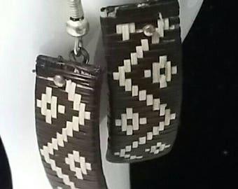 Native look woven earrings