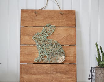 SOLD!! Bunny string art, Easter decoration, rustic wood sign
