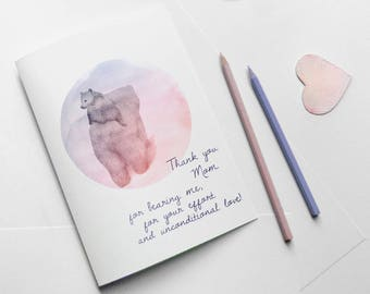 Thank you Mom Mothers day mama bear card printable - instant download love mom card - best mom card for mom- happy mothers day