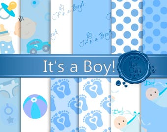"""Baby Digital Paper: """"IT'S A BOY!"""" / Blue with designs, polka dots, pacifier and baby foot patterns for baby bath, birth, scrapbook"""