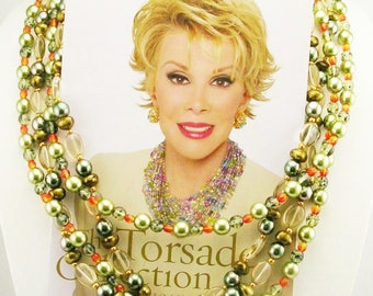 """Joan Rivers Multi Color 2 Strand Glass BeadTorsade Necklace   44"""" Shades of Green"""