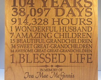 Personalized Wooden Memorial Plaque; Engraved