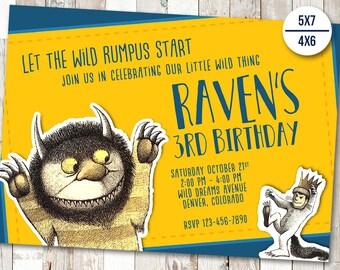 Where The Wild Things Are Birthday Invitation, Where The Wild Things Are Invitations, Wild Thing Personalized Invitation, Max Printables