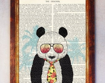 Cool Male Panda wearing Eyglasses and Yellow Tie Art Print, Panda Wall Print, Book Art Panda Print, Panda Art, Nursery Print Boy