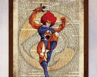 Thundercats Poster, Thundercats Logo Wall Art, Lion-O Book Page Print, Dictionary Page Print, Thundercats Illustration, Nursery Decor Print