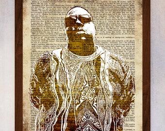 Notorious Big Art Print, Notorious Big Wall Art, Book Page Print, Dictionary Page Print, Notorious BIG Printable, Notorious BIG Poster